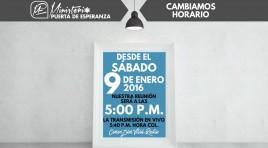Nuevo Horario de Reunión en MPE desde enero 9 de 2016